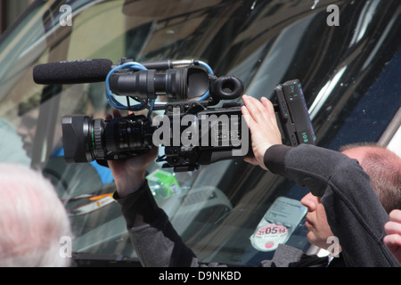 Camera man at EDL demonstration in Newcastle. - Stock Photo