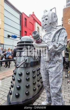 England, London, Stratford, Annual Sci-fi Costume Parade, Dalek and Cyborgs - Stock Photo