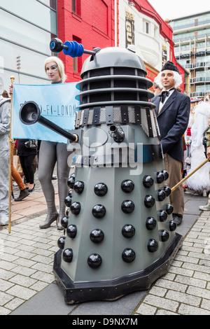 England, London, Stratford, Annual Sci-fi Costume Parade, Dalek - Stock Photo