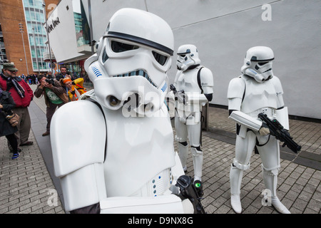 England, London, Stratford, Annual Sci-fi Costume Parade, Star Wars, Stormtroopers - Stock Photo