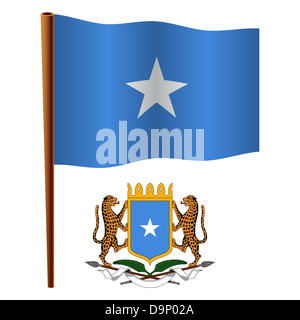 somalia wavy flag and coat of arm against white background, vector art illustration, image contains transparency - Stock Photo