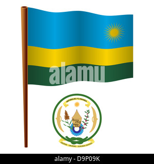 rwanda wavy flag and coat of arm against white background, vector art illustration, image contains transparency - Stock Photo
