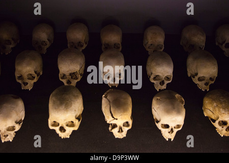 A display of human skulls at the Kigali Memorial Centre for 1994 genocide in Rwanda. - Stock Photo