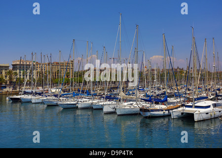Boats in Barcelona Harbour, Barcelona, Spain - Stock Photo