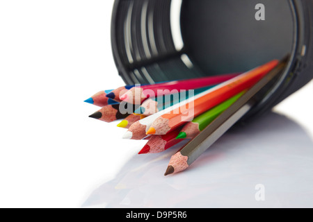 Close-up of a fallen stand with coloured pencils - Stock Photo