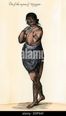 One of the wives of Wyngyno, a Native American chief, Raleigh's Colony, 1500s. Hand-colored woodcut of a John White - Stock Photo