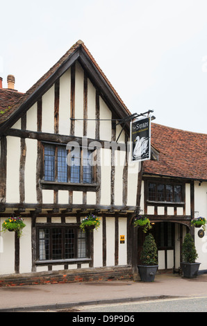 15th century Swan Hotel in a timbered building in medieval village High Street, Lavenham, Suffolk, England, UK, - Stock Photo