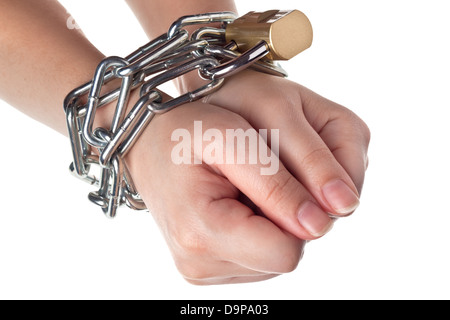 Two hands securely tied by metal chain isolated on white background - Stock Photo