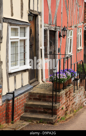 Steps leading up from a street to front door of a timbered house in medieval village of Lavenham, Suffolk, England, - Stock Photo