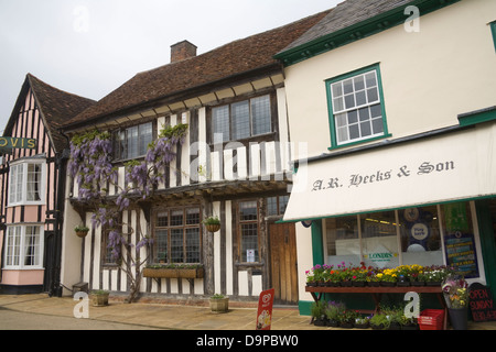 Lavenham Suffolk East England Medieval properties in Market Place of beautiful historic village - Stock Photo
