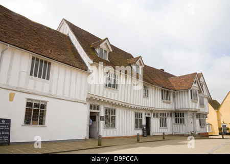 Lavenham Suffolk East Anglia England 17thc Guildhall of Corpus Christi in Market Place of lovely medieval village - Stock Photo