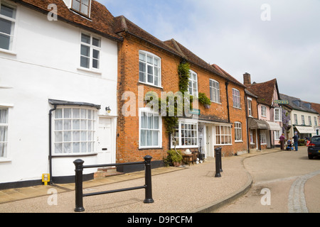 Lavenham Suffolk East Anglia England Medieval properties in Market Place of beautiful historic village - Stock Photo