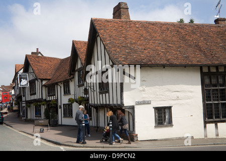 Lavenham Suffolk East Anglia England Swan Hotel and Restaurant in High Street of lovely medieval village - Stock Photo