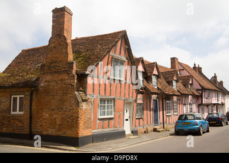 Lavenham Suffolk East Anglia England Pastel coloured half timbered houses in  medieval village one of 20th wealthiest - Stock Photo