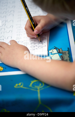 Close Up Of Letter E Handwriting Practice Page Stock Photo ...