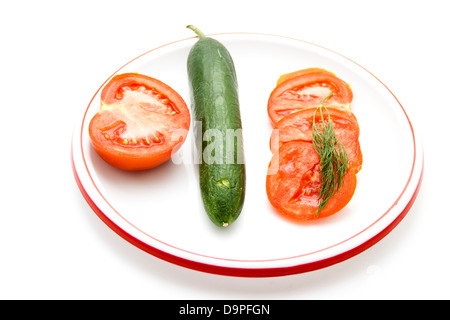 Fresh Cucumber with Tomato on plate - Stock Photo