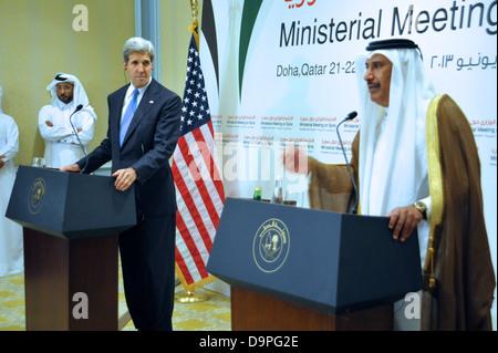 Secretary Kerry Addresses Reporters With Qatari Prime Minister and Foreign Minister Sheikh Hamad bin Jassim Al Thani - Stock Photo