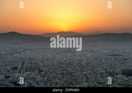View of Athens at sunset from Lycabettus hill - Stock Photo