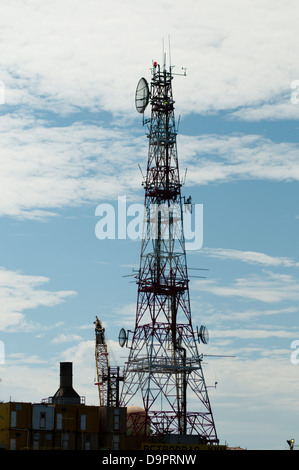 communication tower at an offshore oil rig. - Stock Photo