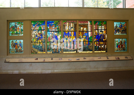 Stained Glass mural of George Washington at Mt. Vernon visitor center, Virginia,  USA - Stock Photo