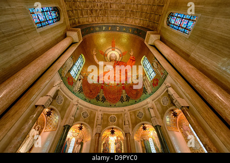 Christ in Majesty, North Apse, Basilica of the National Shrine of the Immaculate Conception, Washington DC, USA - Stock Photo