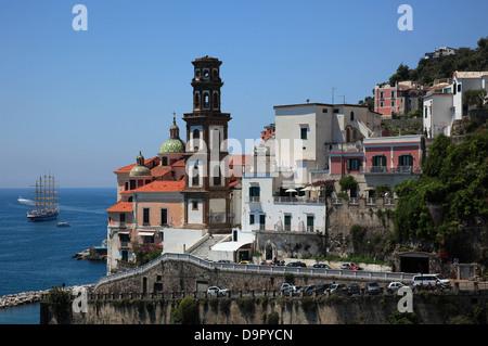 City Atrani on the Amalfi Coast, Campania, Italy - Stock Photo