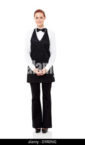 pretty waitress full length portrait isolated on white - Stock Photo