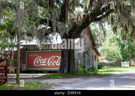 Classic Coca Cola sign painted on the side wall of the old Thrasher Warehouse in the historic district of Micanopy, - Stock Photo