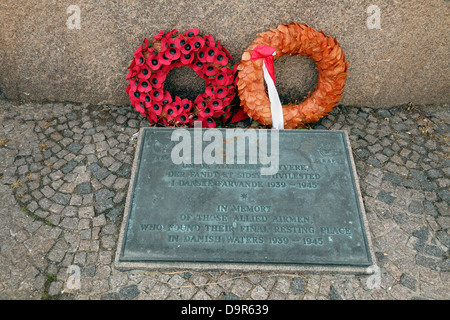 RAF tablet at WW2 memorial at Tuborg Havn in memory of those allied airmen, who found their final resting place - Stock Photo