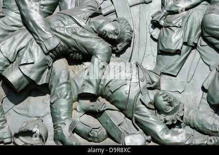 Part of the bronze relief by Moriz Schulz at the base of the Siegessaule or Victory Column, Tiergarten, Berlin, - Stock Photo