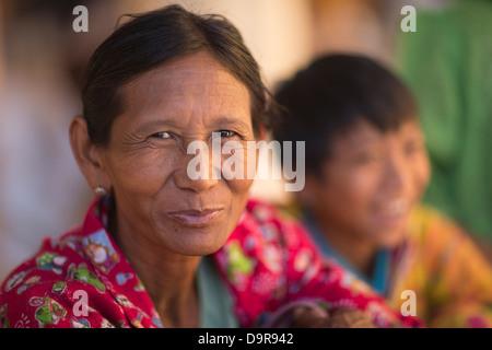 a woman at the Shwezigon Paya, Bagan, Myanmar (Burma) - Stock Photo