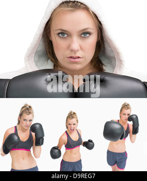 Collage of a woman boxing - Stock Photo