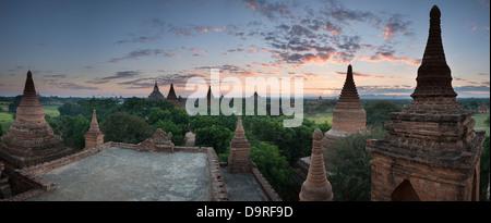 the temples of Bagan at dawn, Myanmar (Burma) - Stock Photo