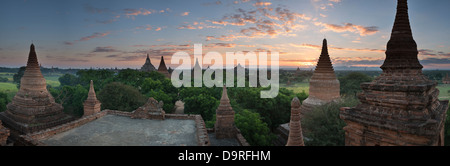 the Temples of Bagan at dawn, Myanmar (Burma) - Stock Photo