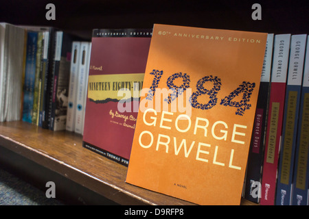 Copies of George Orwell's book '1984' are seen on the shelves of a bookstore in New York - Stock Photo