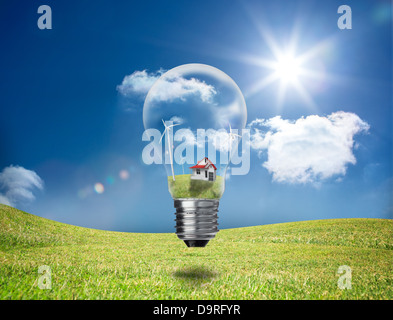 Light bulb showing house and turbines in a field - Stock Photo