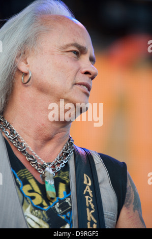 LINCOLN, CA - June 22: Rickey Medlocke with Lynyrd Skynyrd performs at Thunder Valley Casino and Resort in Lincoln, - Stock Photo