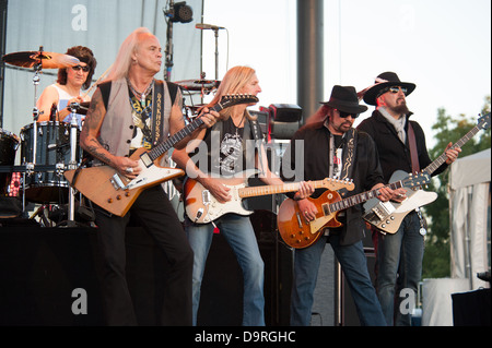 LINCOLN, CA - June 22: Lynyrd Skynyrd performs at Thunder Valley Casino and Resort in Lincoln, California on June - Stock Photo