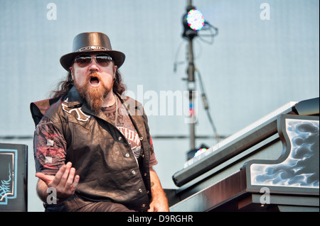 LINCOLN, CA - June 22: Peter Pisarczyk with Lynyrd Skynyrd performs at Thunder Valley Casino and Resort in Lincoln, - Stock Photo