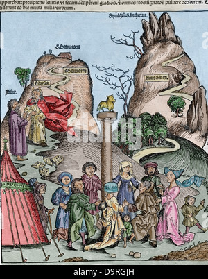 The Nuremberg Chronicle (Liber Chronicarum) by Hartmann Schedel. 1493. - Stock Photo