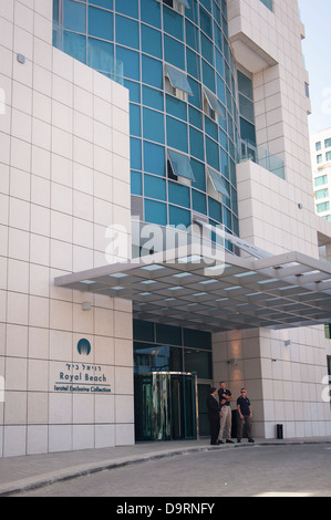 Israel Tel Aviv main entrance to newly opened Isrotel Exclusive Collection luxury Royal Beach Hotel promenade - Stock Photo