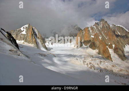 Glacier of Mont Blanc. Mont blanc du tacul on the right - Stock Photo