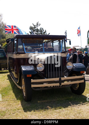REO Safety Bus on display at the Old Gaffers Festival 2013 Yarmouth Isle of Wight England UK - Stock Photo