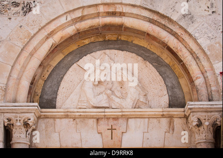 Israel Old City Jerusalem Via Dolorosa Station of the Cross 4 four fourth  Jesus meets mother Mary Armenian Church - Stock Photo