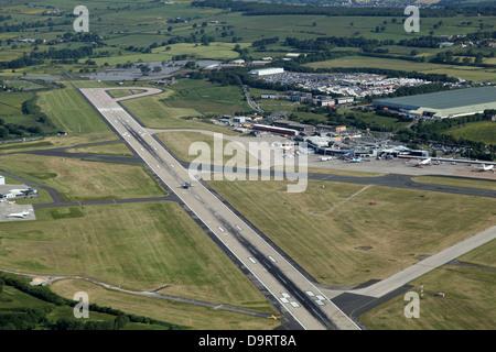 aerial view of Leeds Bradford airport - Stock Photo