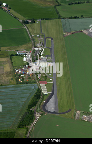 aerial view of Breighton airfield near Selby, Yorkshire - Stock Photo
