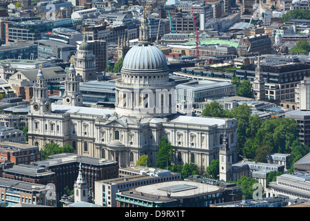 Aerial view of St Pauls cathedral and dome summertime - Stock Photo
