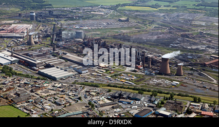 aerial view of British SteelTata steelworks at Scunthorpe, formerly British Steel - Stock Photo