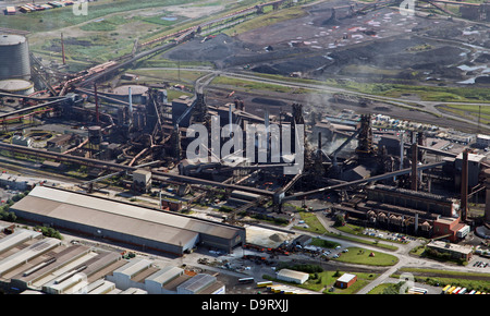 aerial view of British Steel Tata steelworks at Scunthorpe, formerly British Steel - Stock Photo