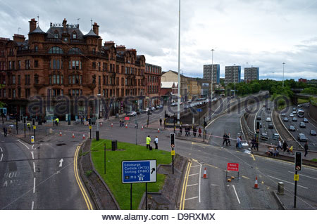 A Glasgow landscape during the Mens British Cycling National Road Race Championships. - Stock Photo